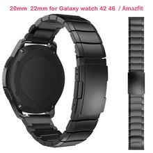 22mm 20mm pasek zegarka do Samsung Galaxy s3 zegarek 42 46mm Amazfit Bip tempo silnika 360 pasek ze stali nierdzewnej biegów S3 S2 klasyczne