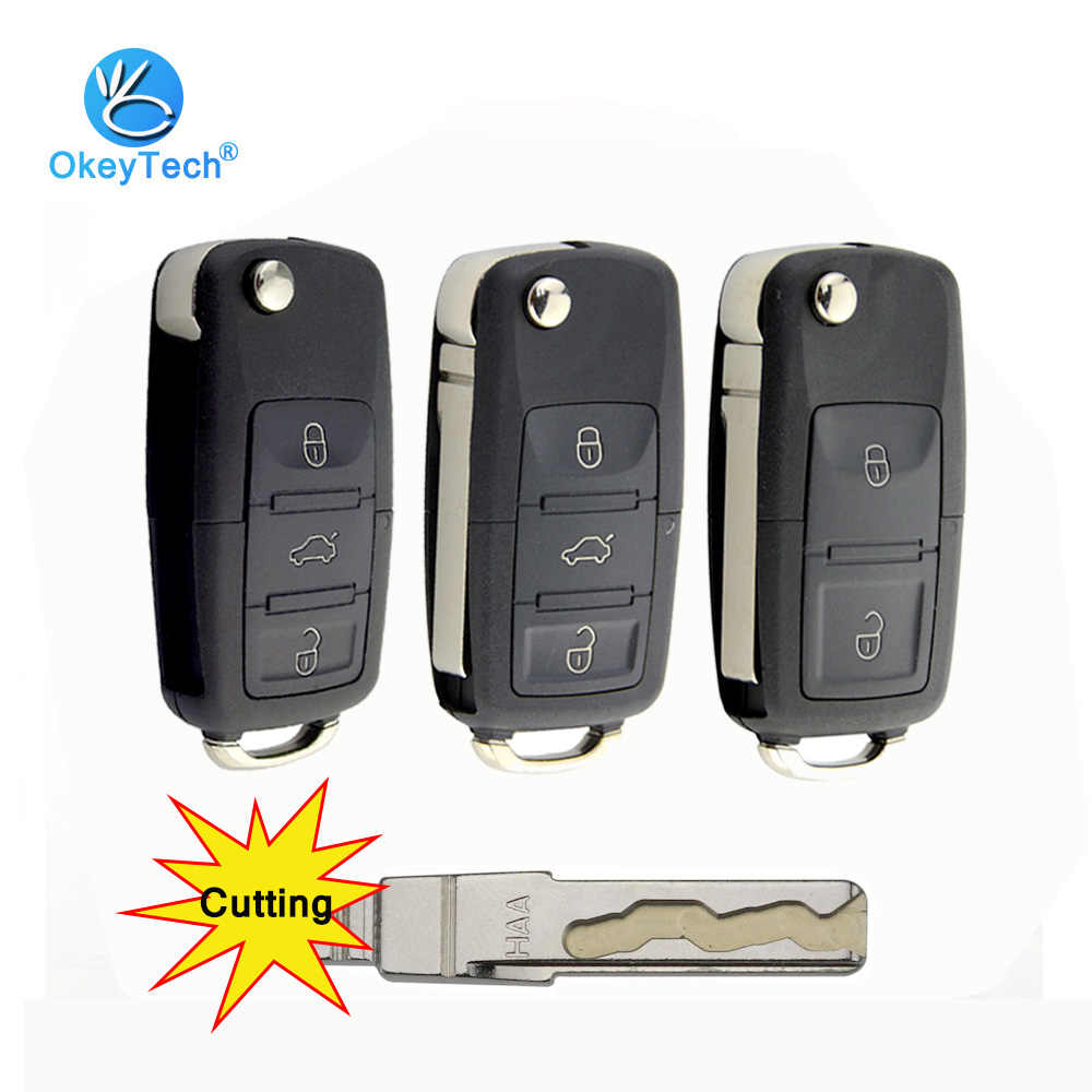 OkeyTech 2/3 Button Car Remote Flip Folding Key Shell Case Fob For V W Volkswagen Passat Polo Golf Touran Octavia Cutting Blade