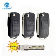 OkeyTech 2/3 Button Car Remote Flip Folding Key Shell Case Fob For V W Volkswagen Passat Polo Golf Touran Octavia Cutting Blade