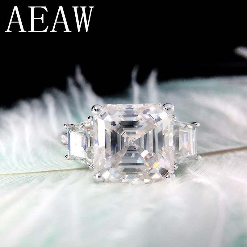 AEAW Asscher Cutting Moissantie Ring 14k White Gold Center 9.5ctw 11X11mm DF Color VVS Moissanite Engagement Ring For Women