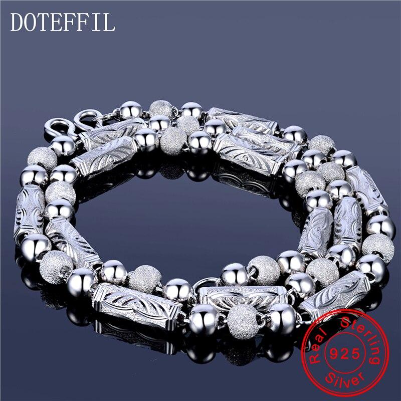 925 bijoux en argent Sterling hommes collier classique dominateur gommage perles solide argent chaîne collier bijoux