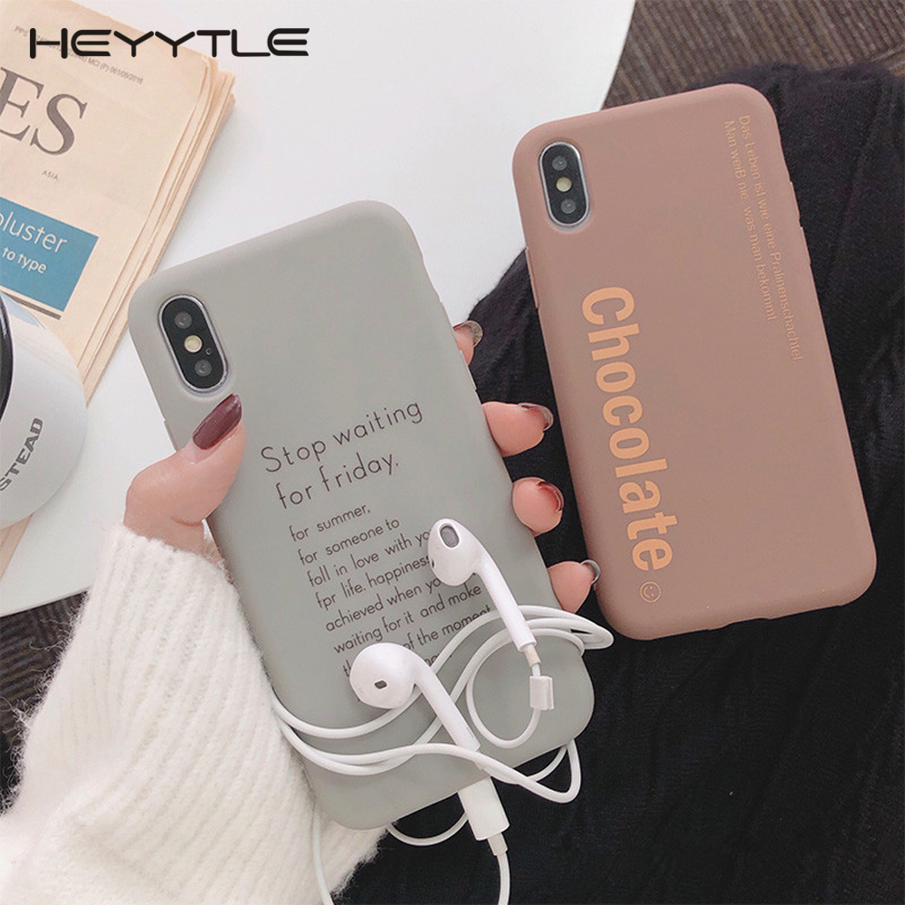 Heyytle Letter Soft TPU Case For IPhone 7 8 Plus XS Max XR X 6 6s Cartoon Cases Shock Silicone Back Cover 7Plus Slim Couple Case
