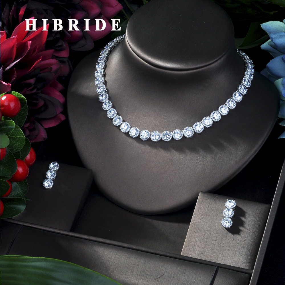 HIBRIDE Round CZ Stone Luxury Women Nigerian Wedding Naija Bride Cubic Zirconia Necklace Dubai 4PCS Dress Jewelry Set N 275