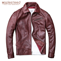 MAPLESTEED Men's Leather Jacket Wine Red 100% Natural Cow Skin Jackets For Men Genuine Leather Jacket Real Skin Coat Autumn M099