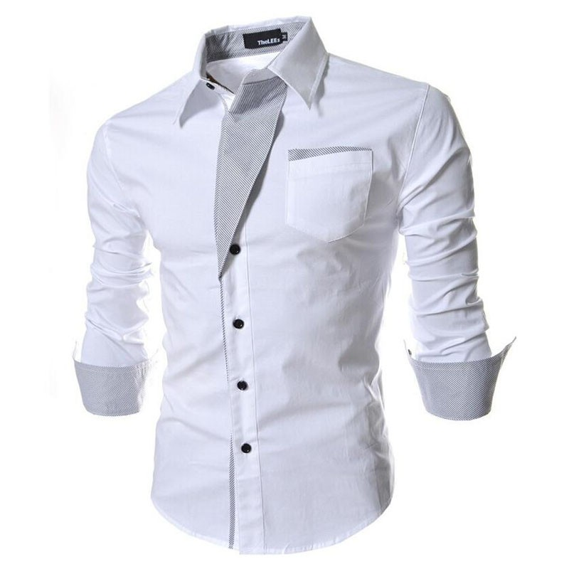 2017 new brand long sleeve shirts social male 5 colors slim fit  striped shirts plus size 3xl mens dress shirts 7