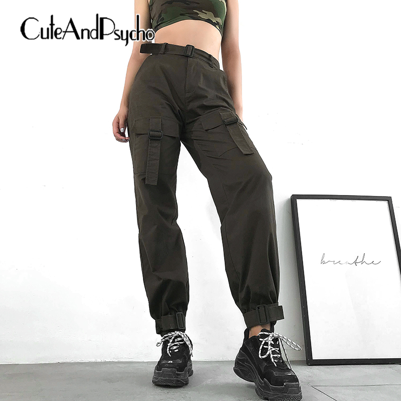 2019 Women Casual Pocket Cargo   Pants   100%Cotton Overall Trousers Jogger Loose High waist   Pant     Capris   Streetwear Cuteandpsycho