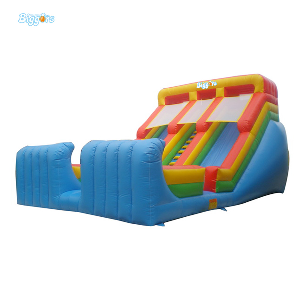 Inflatable Biggors Giant Inflatable Dry Double Slide With Safety Net For Playing