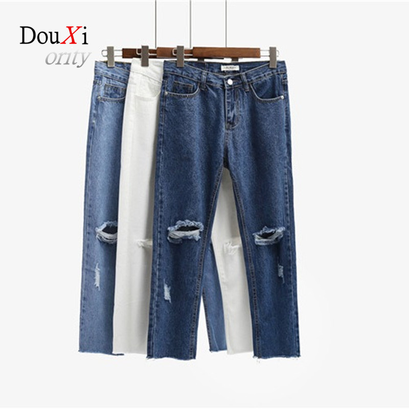 Douxiority Elastic High Waist Hole Ripped Jeans Ladies Ankle Length Straight Denim Pants Women White &Blue Jeans Size  S-L envmenst 2017 male floral bottom blue hole ankle length jeans men s jeans casual zipper straight denim trousers size 28 40