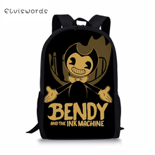 ELVISWORDS Kids Backpack Bendy and the Ink Machine Prints Childrens Book Bags Cartoon Toddler Schoolbags Women Travel