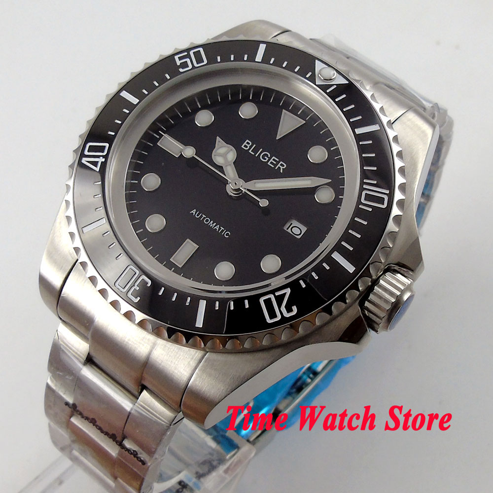 Bliger 44mm black dial date window luminous black Ceramic Bezel Automatic movement Men