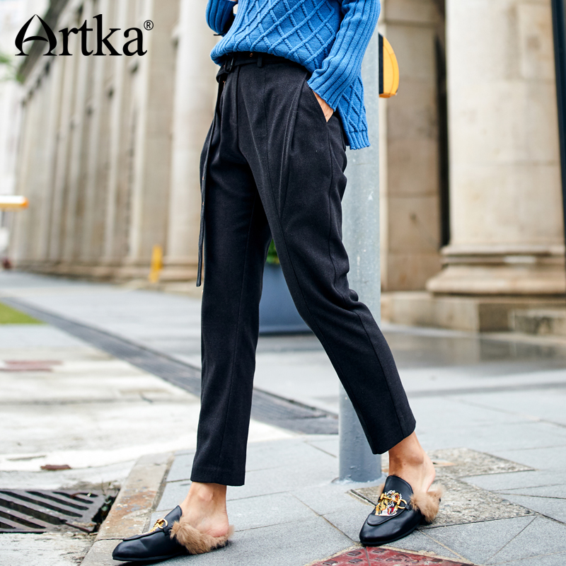 ARTKA 2018 New City Series Winter Female Pants New Zipper Decorated Loose Ankle Length Haren Pants