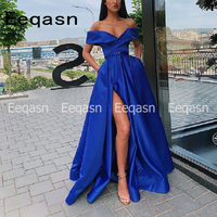 robe soiree Royal Blue Evening Dress 2020 Side Slit V Neck Sweep Train Satin Prom Dresses For Women Special Occasion Dress