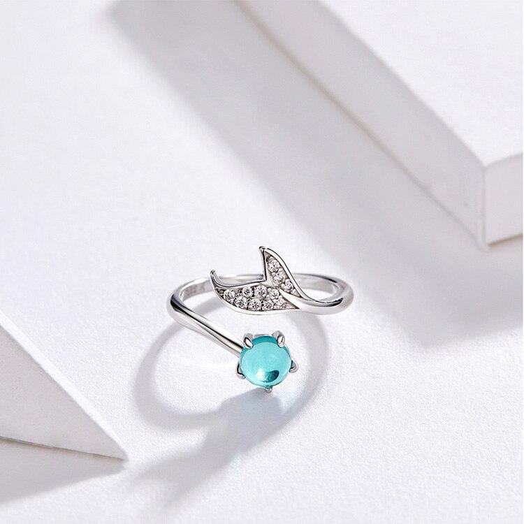 HTB1csPLVpzqK1RjSZFvq6AB7VXaF BISAER 100% 925 Sterling Silver Female Mermaid Tail Adjustable Finger Rings for Women Wedding Engagement Jewelry S925 GXR286