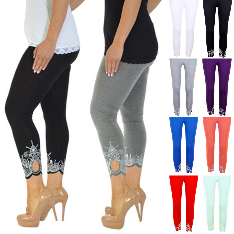 Women Fashion Hollow Out Stretch Capri Cropped Leggings Pants - Plus Size