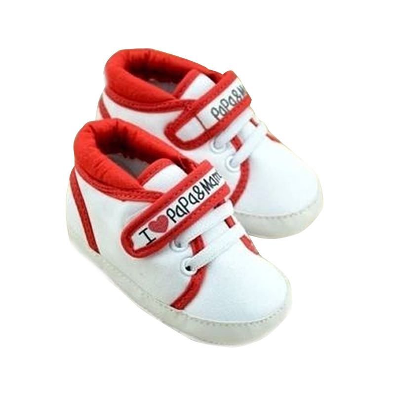 Newborn Infant Baby I Love Papa Mama Soft Sole Crip Sport Shoes Sneakers