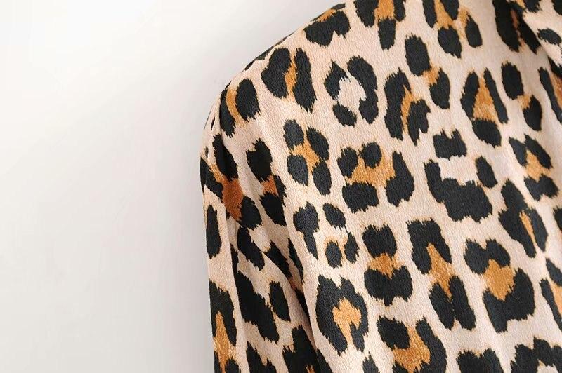 6e004950533 Vadim las mujeres leopardo imprimir blusa larga bolsillos plisado manga  larga camisas animal print retro casual básica tops