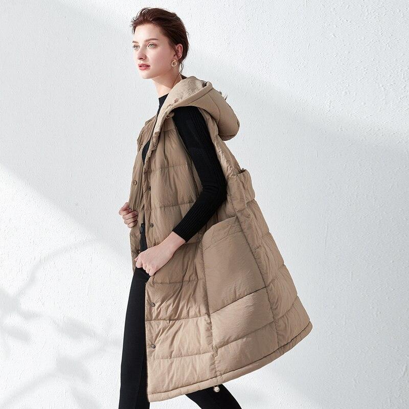 YNZZU 2019 Winter Sleeveless Long Women 39 s Down coat Oversize Solid Hooded Vest 90 White Duck Down Outerwear Jacket YO878 in Down Coats from Women 39 s Clothing
