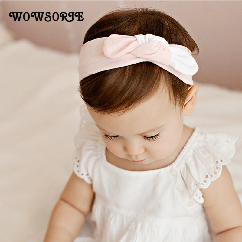 Wowsorie New Children Accessories Female Baby Rabbit Ears Knotted Hair Band Colorful Cotton Bow Headband Knot Headwrap Turban popular in europe and america children wear hair knotted cotton big bow tie children hair baby hair headband
