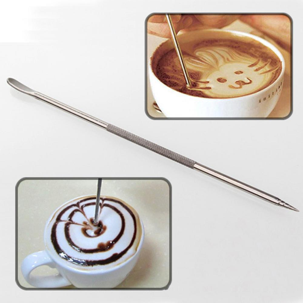 Cafe au lait kitchen decor - 1pc Useful Stainless Steel Barista Cappuccino Latte Espresso Coffee Decorating Pen Art Household Kitchen Cafe Tool