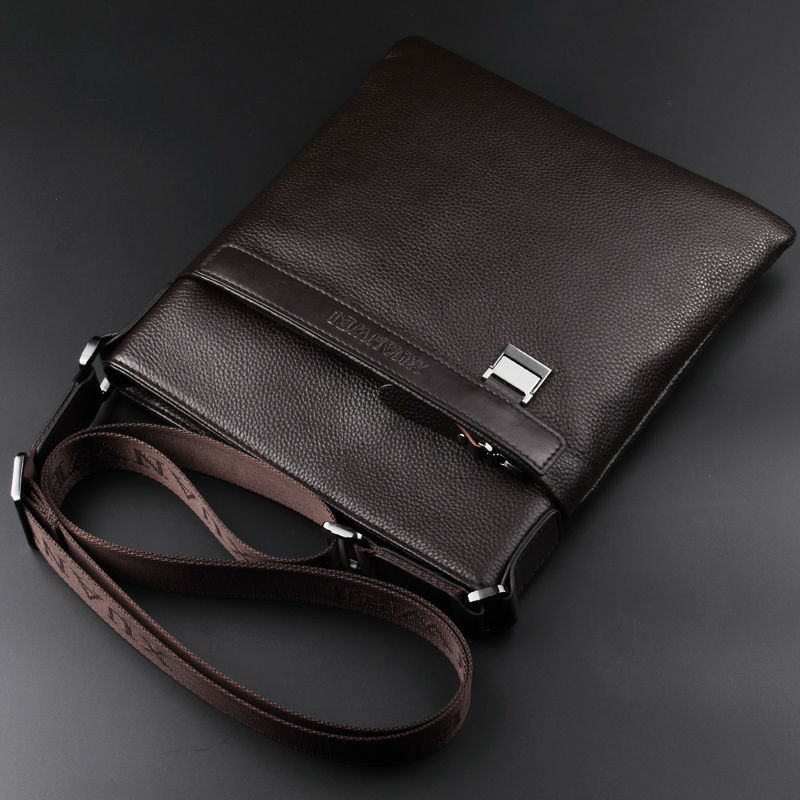 XuanWei Black Satchels Real Leather bag Versatile Casual Male Men Briefcase Cow Leather Upper Shoulder & Crossbody Bags (XW-209)