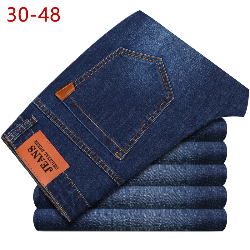 Big Size 44 46 48 Jeans Men New Stretch Cotton Breathable Male Spring Autumn Denim Long Pant Lightweight Jeans Work Leisure Pant