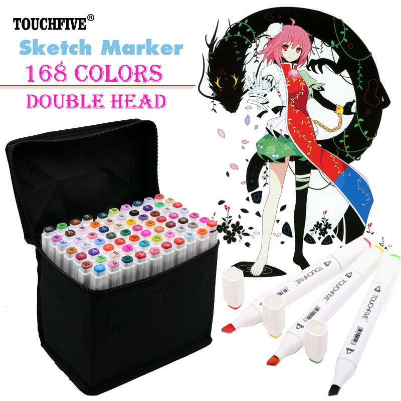 24/30/40/60/80/168colors Mark Pen Alcohol Marker Pen Cartoon Graffiti Sketch Markers set Drawing manga brush pen art supplies