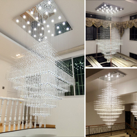 Modern Penthouse Floor K9 Square Crystal Chandeliers Villa Hall Crystal Lamp L60*W60*H120cm Optional Free Shipping
