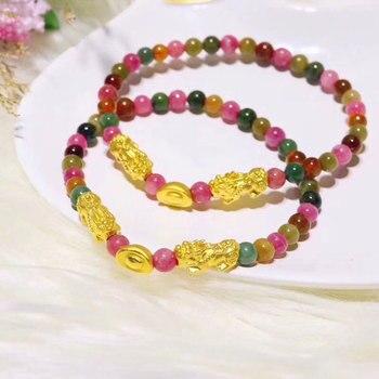 FNJ 24k Gold Pixiu Bracelet for Women Jewelry 100% 999 Pure Gold Ingots New Fashion Natural Tourmaline Stone Bead