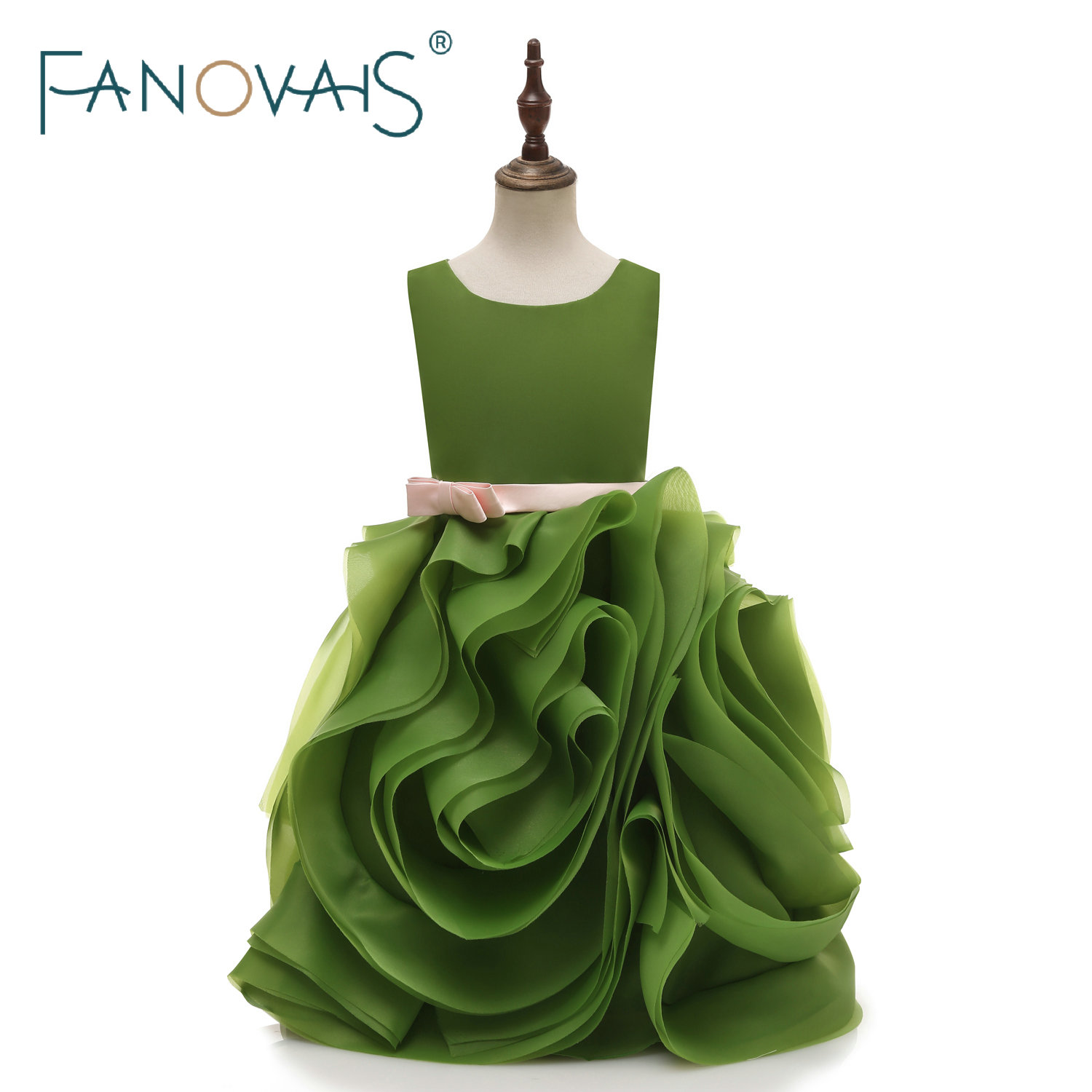 Green Organza Flower Girl Dresses Ruffles Bottom Cute Girl Party Gowns Birthday Dresses Princess Gowns 2019 Vestido De Festa