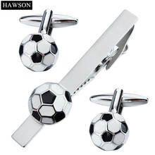 d2d1728c74da Football Pattern Cufflinks Tie Clip Set With Gift Box Funny Soccer Design  Tie Bar Pin for