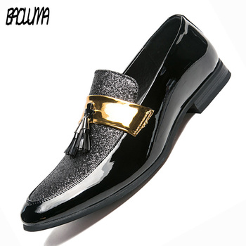 Men Loafers Tassels Designer Man Casual Shoes Big Size 38-47 Business Italy Gold Silver Shiny Basic Casual Shoes Elegant Shoes