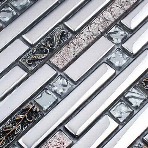 Grau Farbe Edelstahl Gemischt Galvanik Glas Fliesen Für Küche Glas  Backsplash Fliesen Badezimmer Dusche Fliesen Mosaik Grenze In Grau Farbe  Edelstahl ...