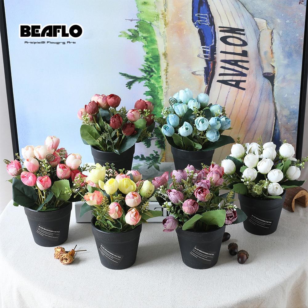 1 Unidades Flor artificial Rose falso floral en maceta Bonsai para la - Para fiestas y celebraciones