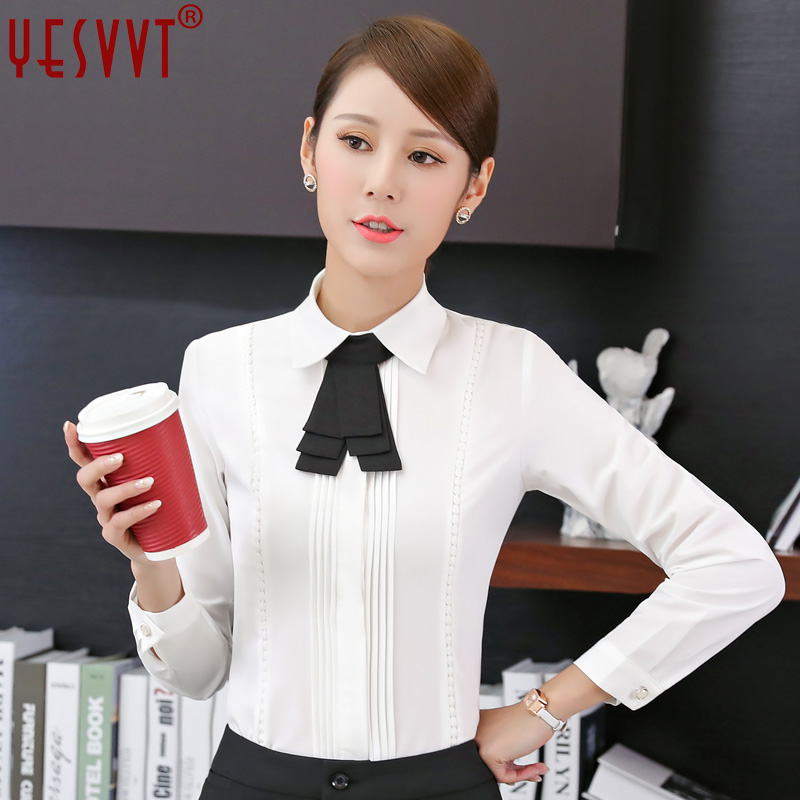 yesvvt 2017 new women clothing long sleeve shirt OL elegant bow tie Formal chiffon blouse office ladies plus size work wear tops