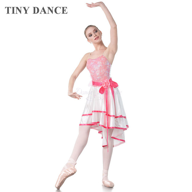 79fb272281bc Top Quality Adult Girls Ballet Dance Costume Lyrical and Contemporary Dress  Sequin Lace White Satin Dress