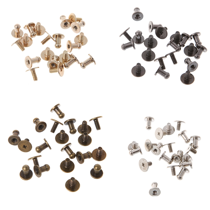 Bag Suitcase Belt Screw Nail River Accessory Metal High Quality Stud Round Head 50pcs 5mm 6mm 7mm round head solid nail leather screw rivet chicago base for diy bags copper stud screw