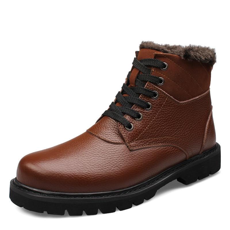 Couro Homem Do Sapatos Espessura Dentro up Inverno Dos Grãos Tornozelo Lace Pelúcia Cheio Neve Da Botas Homens Genuíno Quente De Motocicleta IwCqaw7