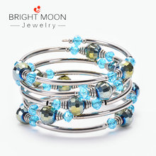 Bright Moon Bohemian Ocean Wind Bracelet Natural Crystal Wrap Multi-layer for Women