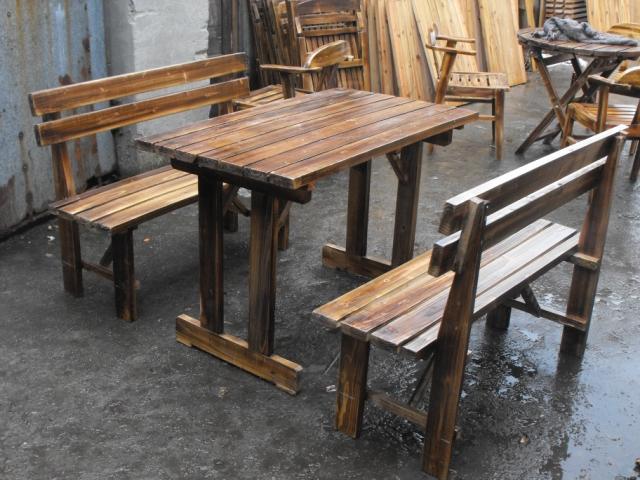 Barato madera carbonizada le a al aire libre balc n patio for Mobilia kitchen table