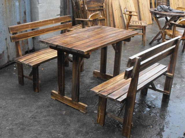 Cheap Carbonized Wood Burning Outdoor Balcony Patio Benches And Chairs Long  Table Bar Restaurant Bar Square