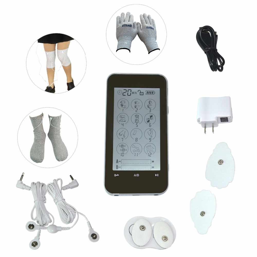 ФОТО 2017 New Dual Channels Electric Digital Theapy Massager Mini LCD Machine Touch Screen Conductive Glove Socks KneePads For TENS