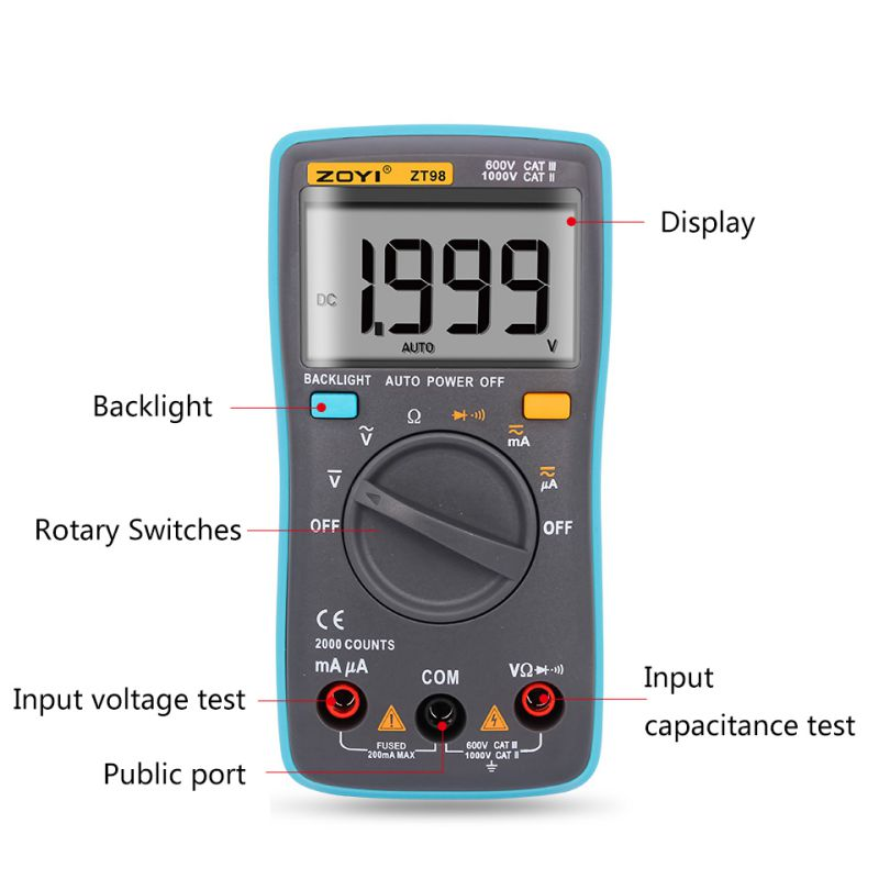 ZT98 Digital Multimeter 2000 counts Backlight AC/DC Ammeter Voltmeter Ohm Portable Meter multimetro an8001 an8002 an8004 lcd digital multimeter 6000 counts with backlight ac dc ammeter voltmeter ohm portable meter