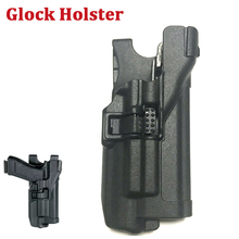 Right Hand Tactical Glock Gun Belt Holster Light Bearing For Glock 17 19 22 23 31 32 Quick Drop Waist Holster tactical quick release automatic loading and locking waist thigh holster for glock