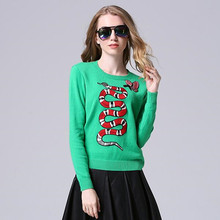 New 2016 Winter Butterfly Salamander Embroidery Sweater Green Long Sleeve Cashmere Sweater Women Sweater Jersey Mujer