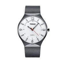 Майк Марка Для мужчин Модная Повседневная Сетка из нержавеющей стали пояса большой циферблат водонепроницаемый кварцевые часы Ultra Slim пару часов