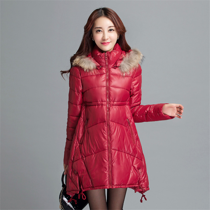 Women Winter Warm Long Down Jacket Slim Cotton Padded Coat  Fur Collar Hooded Outerwear Casual Thickening Long Coat Outwear TT88 hooded collar korean new 2014 winter clothing full sleeve solid down jacket slim women casual cotton padded coat ly1066