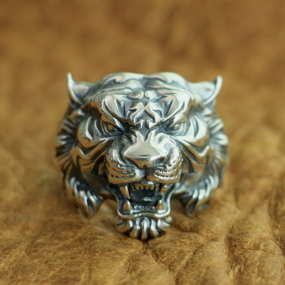 LINSION 925 Sterling Silver High Details Tiger Ring Mens Biker Punk Ring TA130 US Size 7