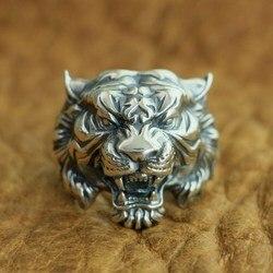 LINSION 925 Sterling Silber Hohe Details Tiger Ring Herren Biker Punk Ring TA130 UNS Größe 7 ~ 15