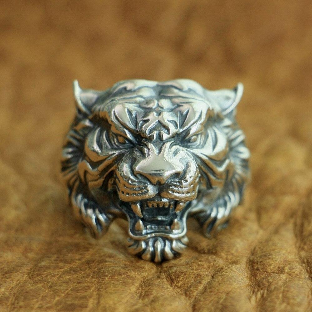 LINSION 925 en argent Sterling haute détails bague tigre hommes Biker Punk anneau TA130 taille américaine 7 ~ 15