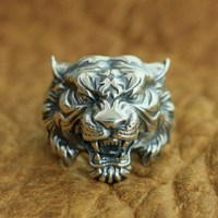 LINSION 925 Sterling Silver High Details Tiger Ring Mens Biker Punk Ring TA130 US Size 7~15
